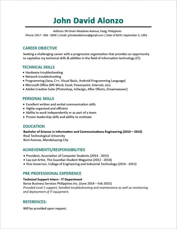 format for a resume