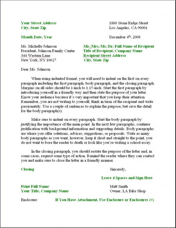 format for business letter