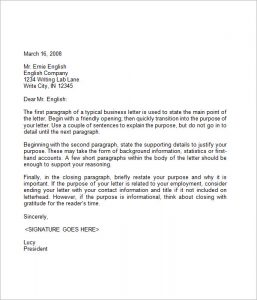 format for business letter business letter sample