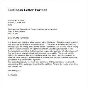 format for business letter sample professional business letter pdf
