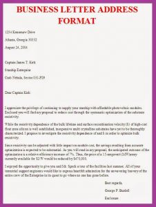format of business letter business letter address format