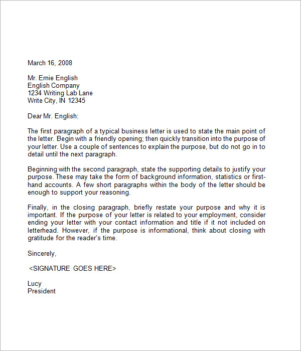 Format of business letter template business format of business letter altavistaventures Image collections
