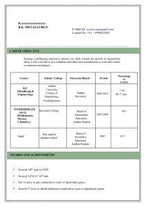 format of reume model resume
