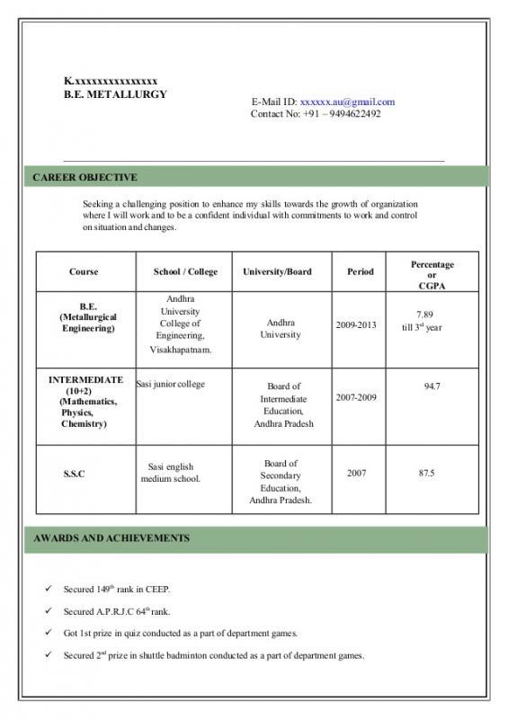 format of reume