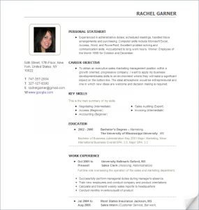 format of reume resume with photo