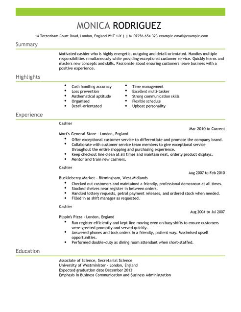 formats for a resume