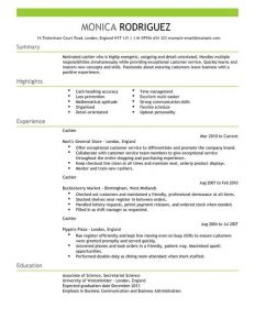 formats of resume cashier resume full