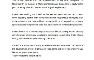 formats of resume marketing coordinator cover letter