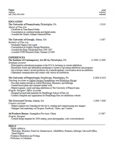 formats of resume mfaica