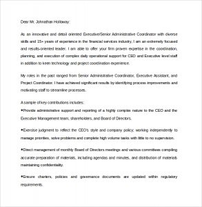 formats of resume senior executive assistant cover letter