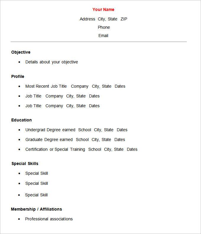 Merveilleux Free Basic Resume Templates Microsoft Word