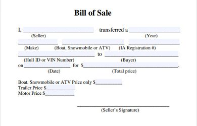 free bill of sale template free bill of sale template