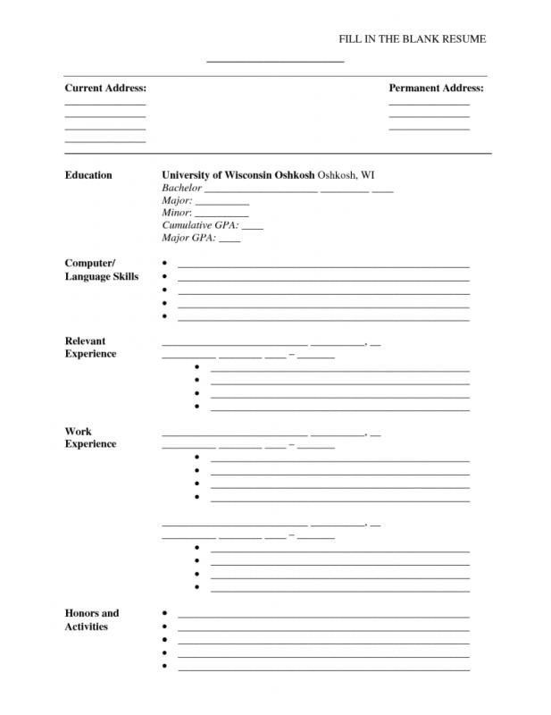 Free Blank Resume Templates For Microsoft Word  Template Business
