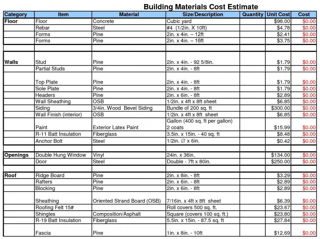 free building estimate format in excel