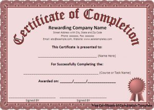 free certificate template free certificate of complet