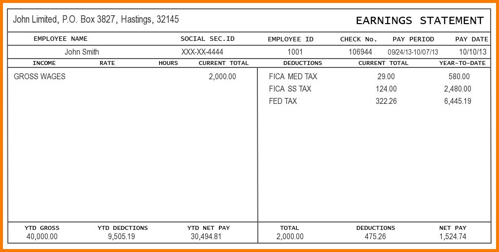 Free Check Stub Template Printables  Payroll Pay Stub Template
