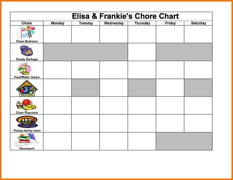 free chore chart template template business