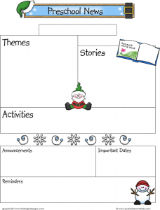 free classroom newsletter templates december preschool newsletter template