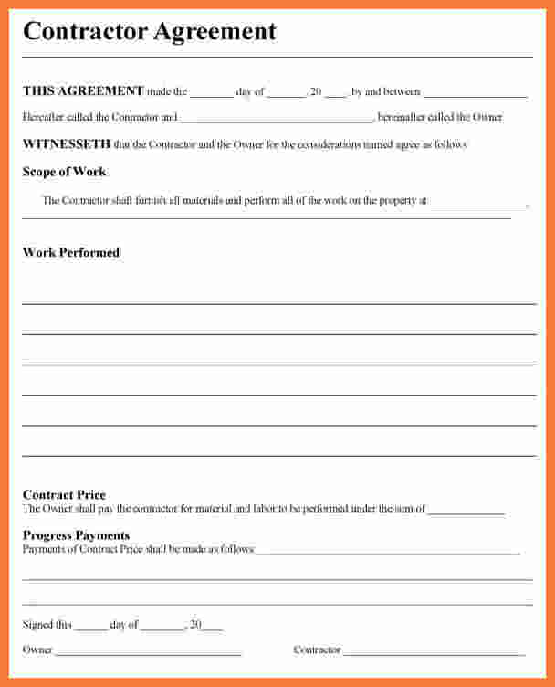 Free contractor agreement template template business for Free contractor agreement template