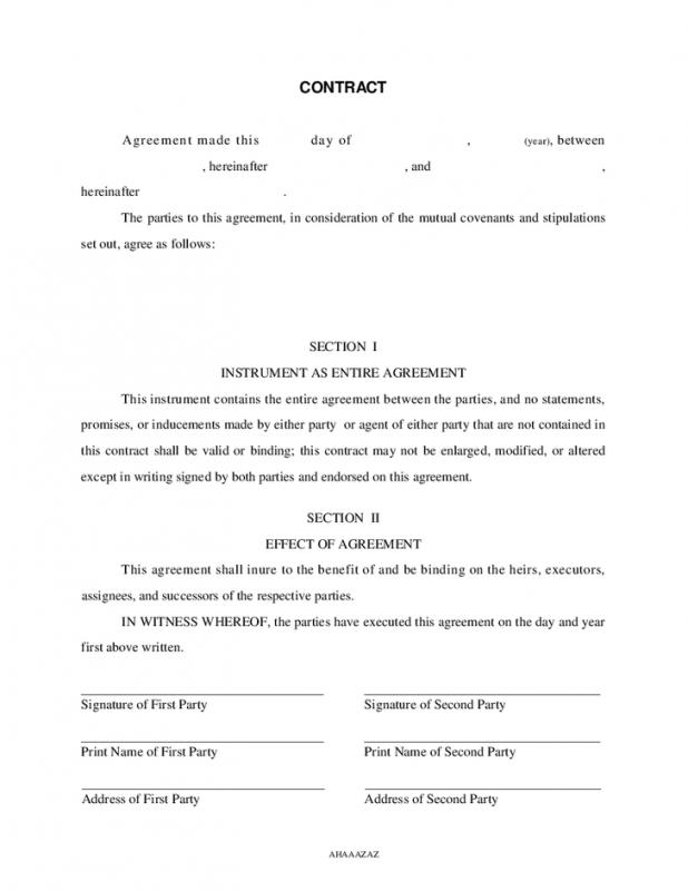 Free Contractor Agreement Template Template Business