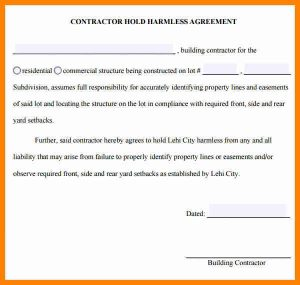 free contractor agreement template hold harmless agreement sample contractor hold harmless agreement template
