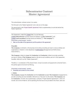 free contractor agreement template subcontractor agreement