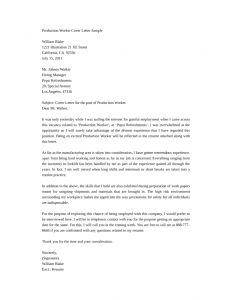 free cover letter samples basic production worker cover letter l