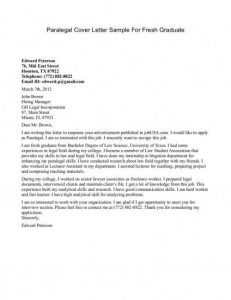 free cover letter samples paralegal cover letter sample for fresh graduate x