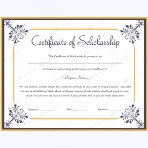 free diploma templates scholarship recipient certificate template