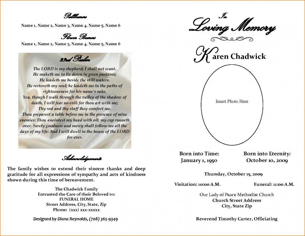 Free Editable Funeral Program Template  Free Obituary Program Template