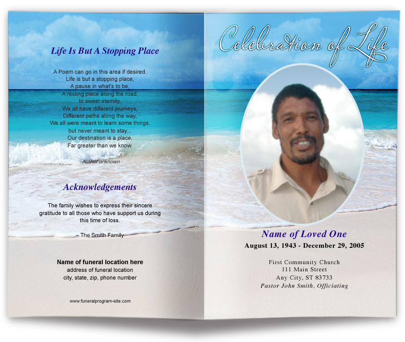 Free Editable Funeral Program Template  Funeral Program Template Free
