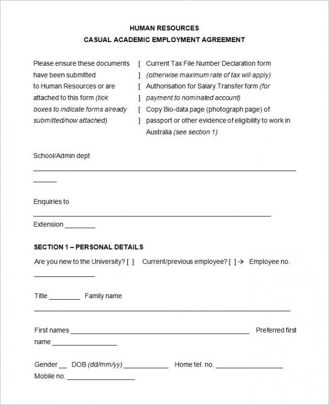 Free Employment Application Template Word Template Business