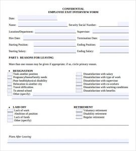 employee exit interview questions template - free employment application template word template business