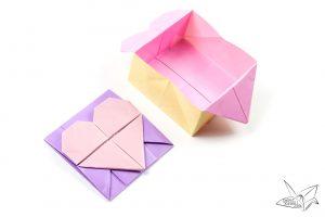 free envelope template origami opening heartbox paperkawaii