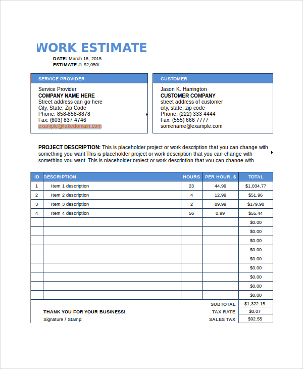 free estimate template