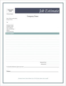 free estimate template job estimate form