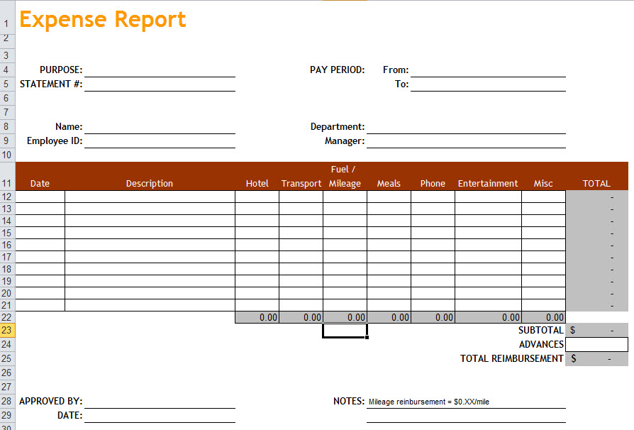 client expense report template