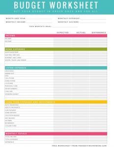 free household budget worksheet free printable budget worksheet download