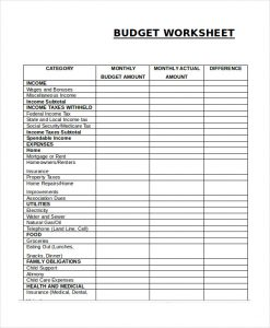 free household budget worksheet monthly budget worksheet