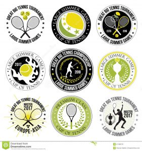 free id badge template set great tennis logos labels badges design elements game racket ball player