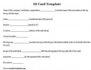free id card template id card template