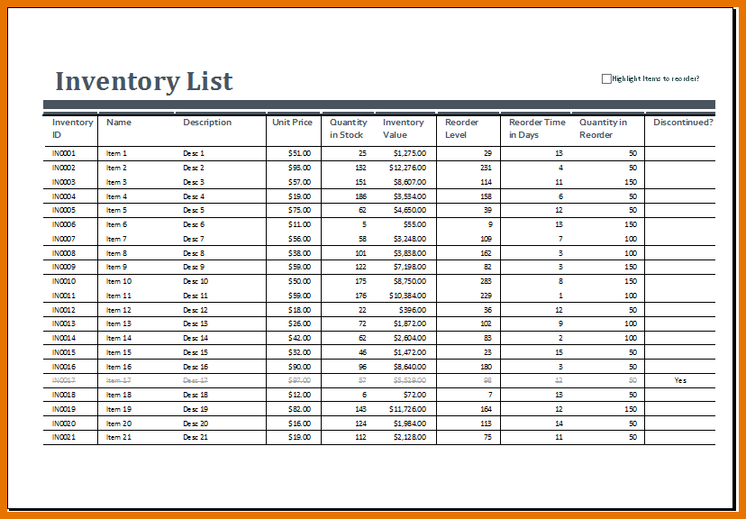 free inventory spreadsheet