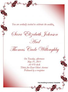 free invitation templates for word free wedding invitation template