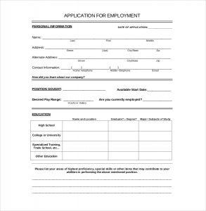 free job application template employement application template download