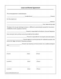 free lease agreement template word lease agreement template