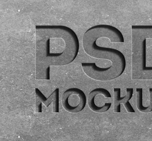 free logo psd stone engraved text effect