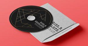 free magazine template cd disk music envelope cover album brand mockup psd