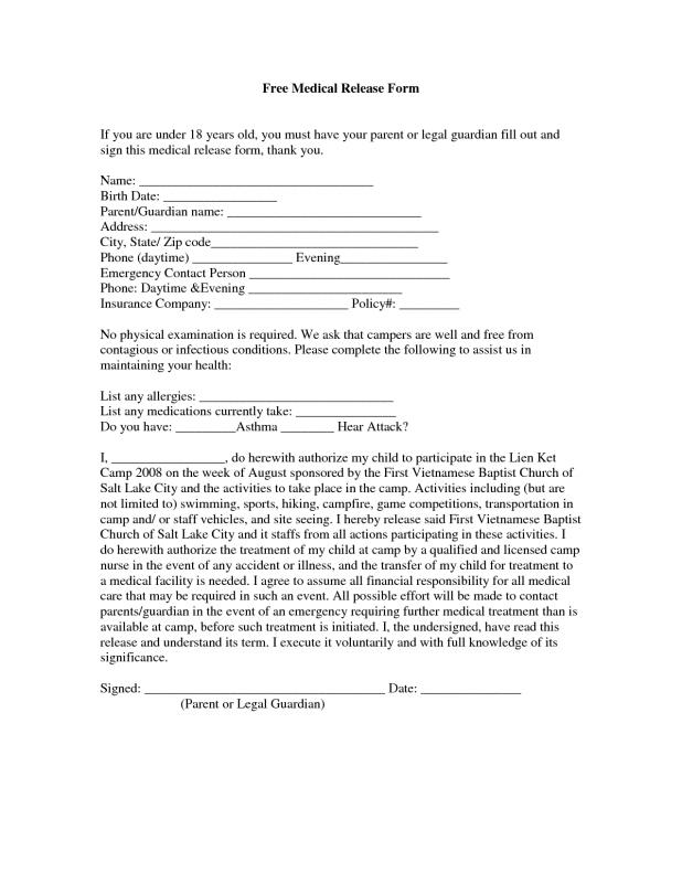 Free Medical Release Form  Template Business