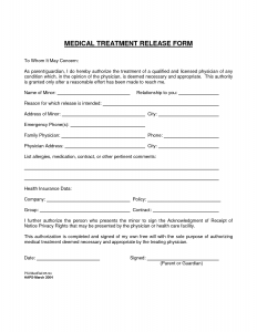 free medical release form medical treatment release form