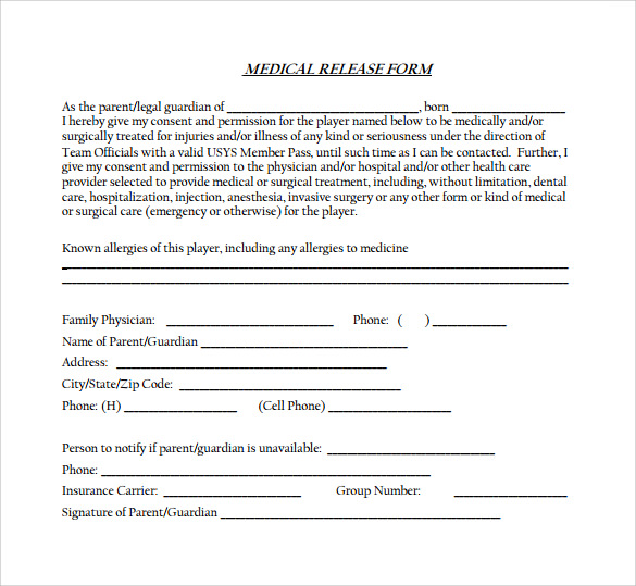 free medical release form